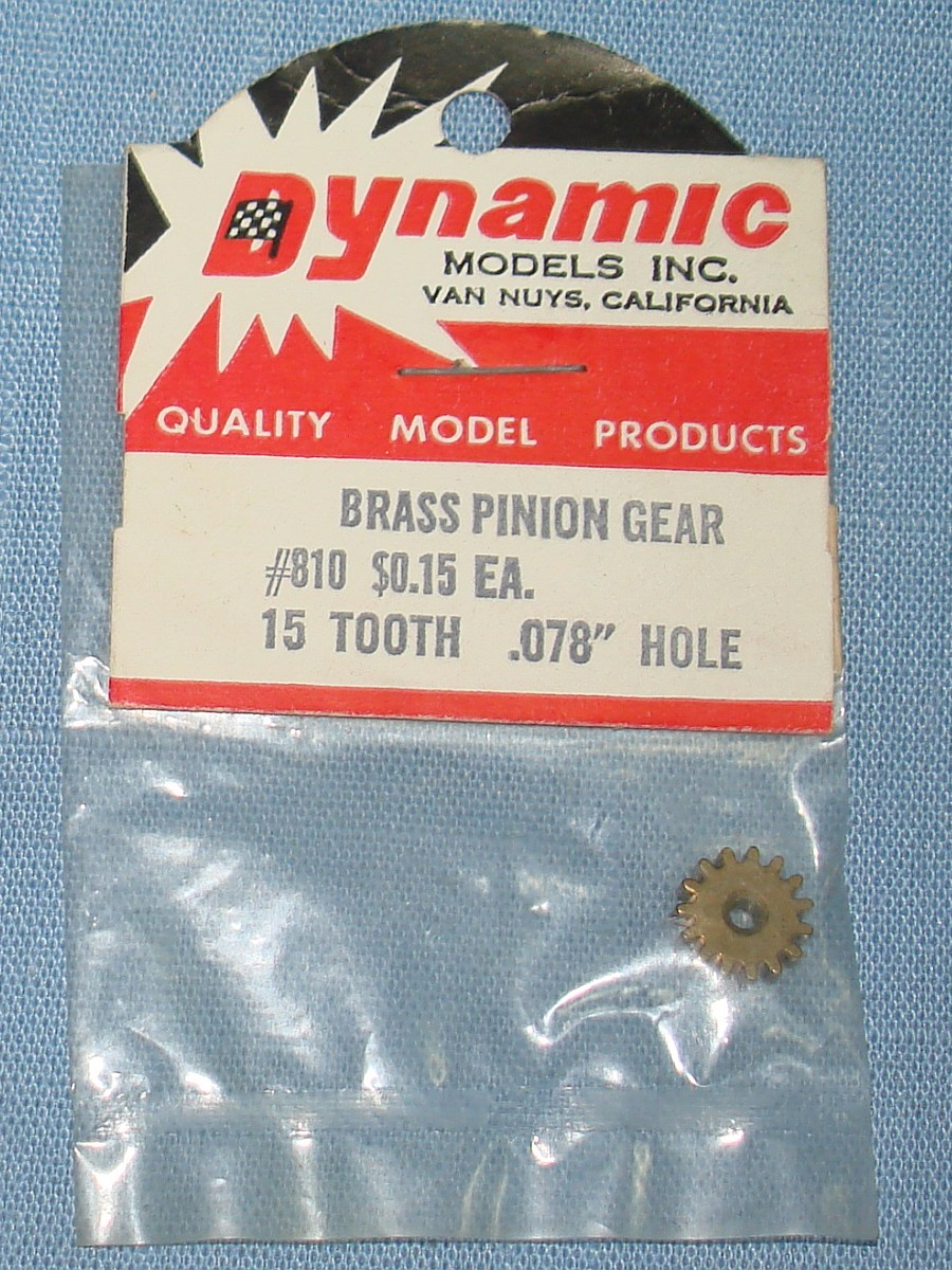 Dynamic Models 1:24 Slot Car Racing 15T Tooth Brass Pinion Gear #810