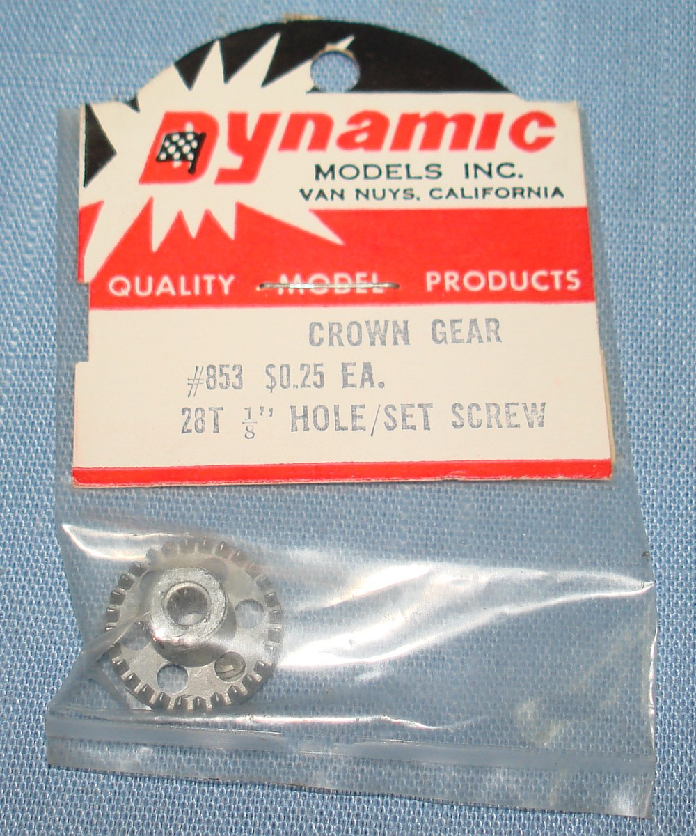 Dynamic Models 1:24 Slot Car Racing Aluminum Crown Gear 28T 1/8 Hole Set Screw #853