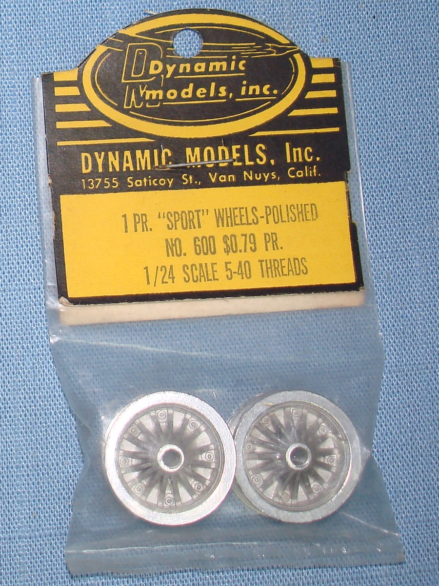 Dynamic Models 1:24 Slot Car Racing Polished Aluminum Sport Wheels 5-40 Threads #600