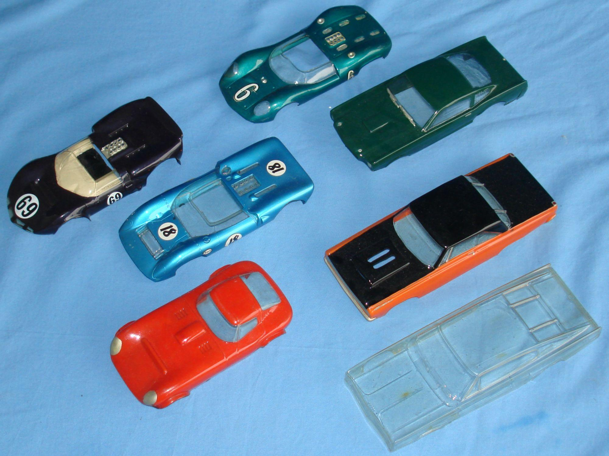 Seven Vintage 1:24 Scale Slot Car Racing Clear Painted Bodies