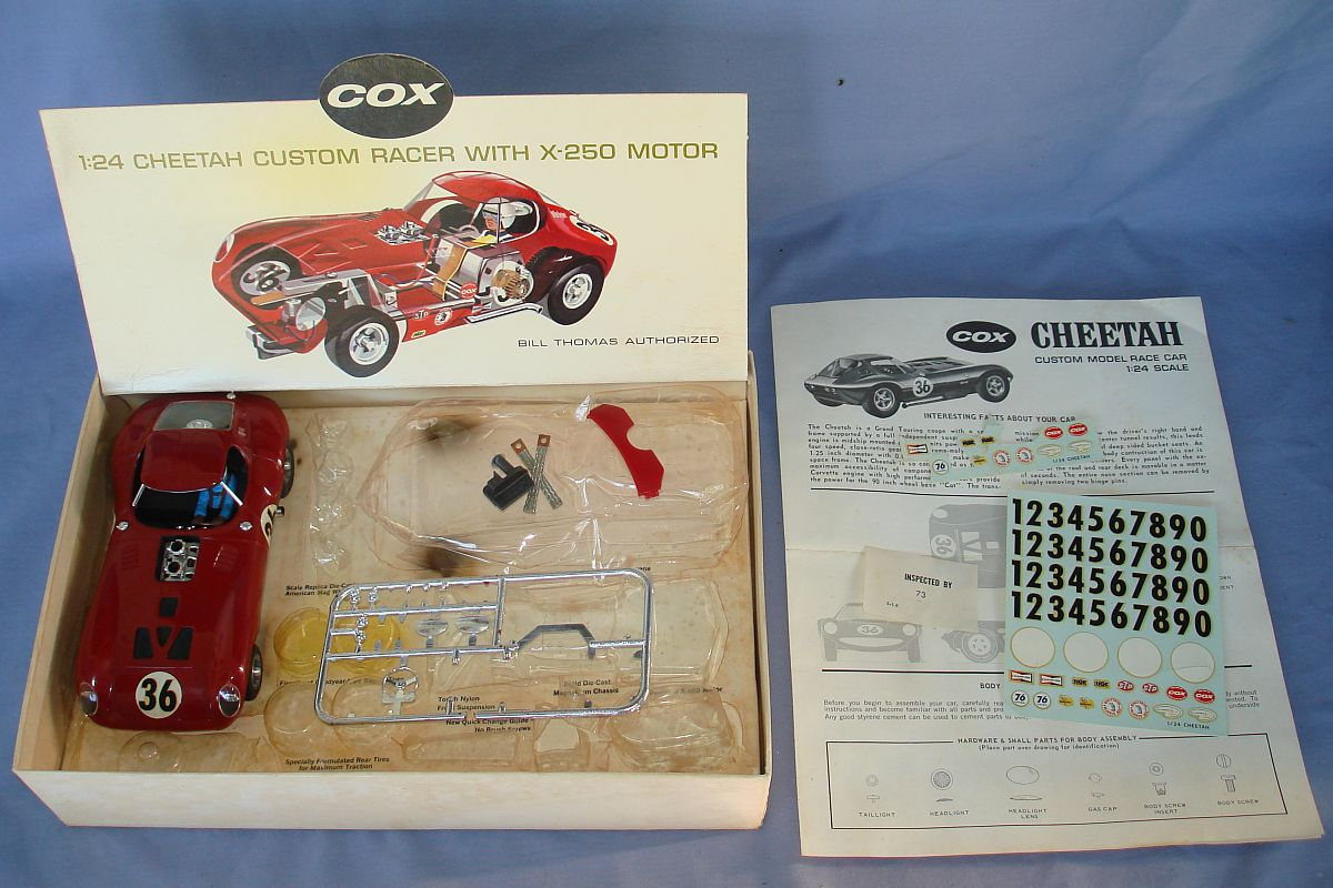 Cox 1:24 Scale Slot Car Racing Red Bill Thomas Cheetah Body Kit Lot Box Contents
