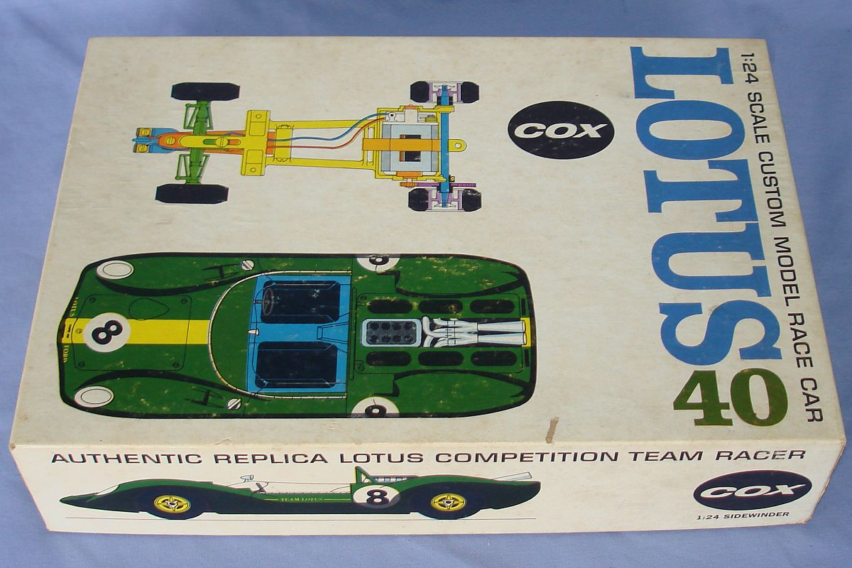 COX 1:24 Scale Slot Car Racing Jim Clark Lotus 40 Sidewinder Chassis Box