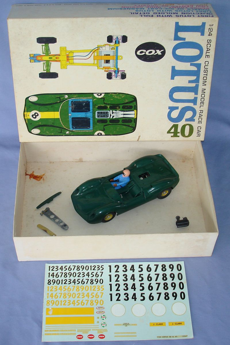 COX 1:24 Scale Slot Car Racing Jim Clark Lotus 40 Sidewinder Chassis Box Contents