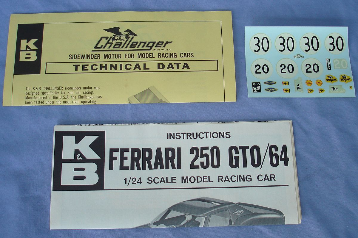 Aurora 1:24 Scale Slot Car Racing Ferrari 250 GTO Sidewinder Chassis Kit 1803Motor Decals Instructions