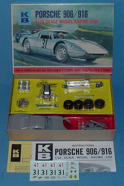 KB 1:24 Scale Porsche 906 916 Slot Car Racing Body Model Kit #1802 Box & Contents