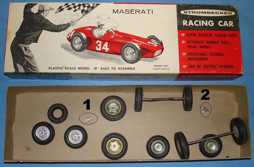 Strombecker 1:24 Maserati Slot Car Kit Contents