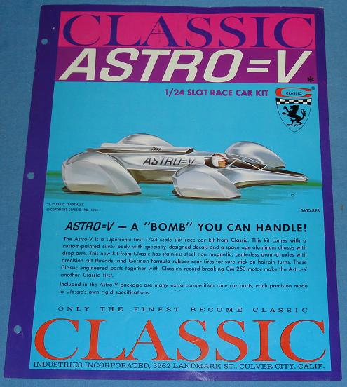 Classic Astro V 1:24 Scale Slot Car Racing Tech Sheet Paperwork