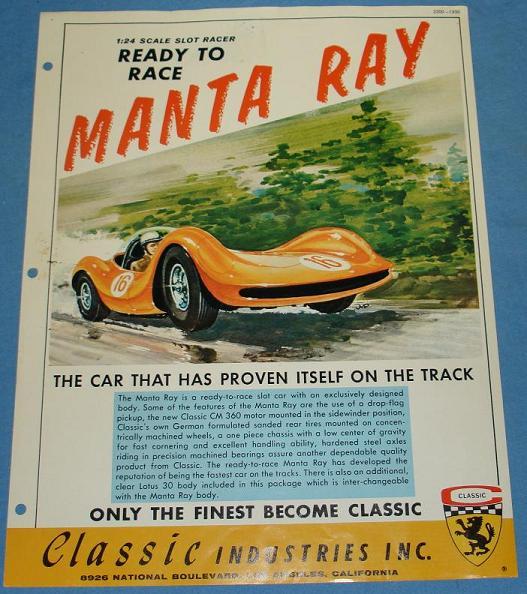 Classic Slot Car Paperwork - Manta Ray
