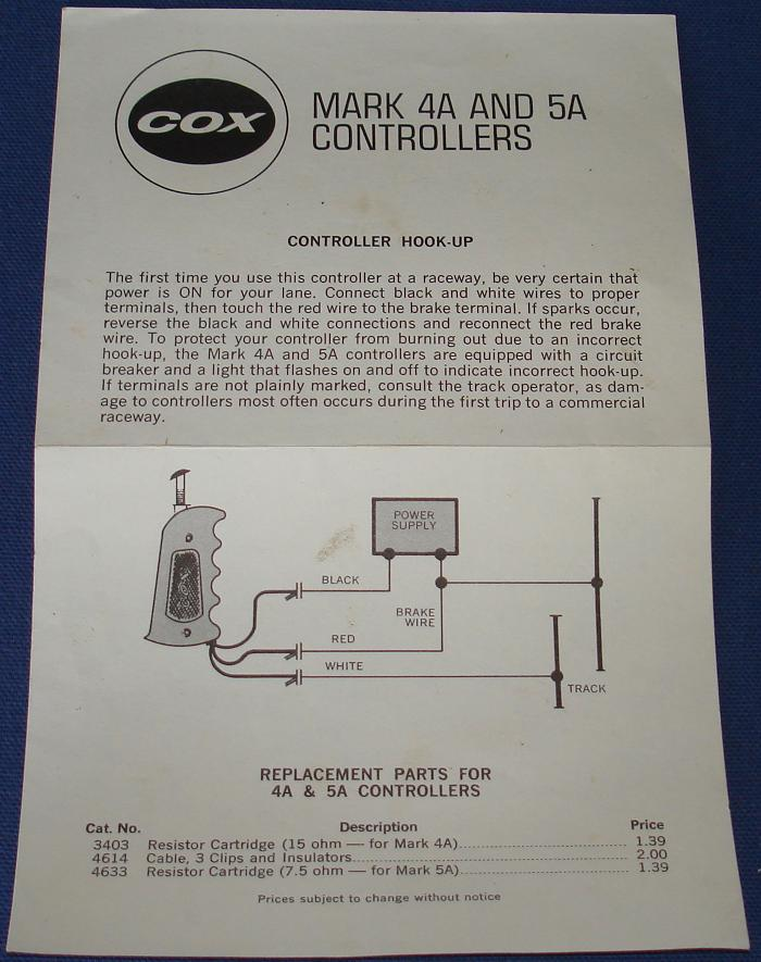 Cox 124 Scale Slot Car Racing Mark 4A 5A Track Controller Instructions