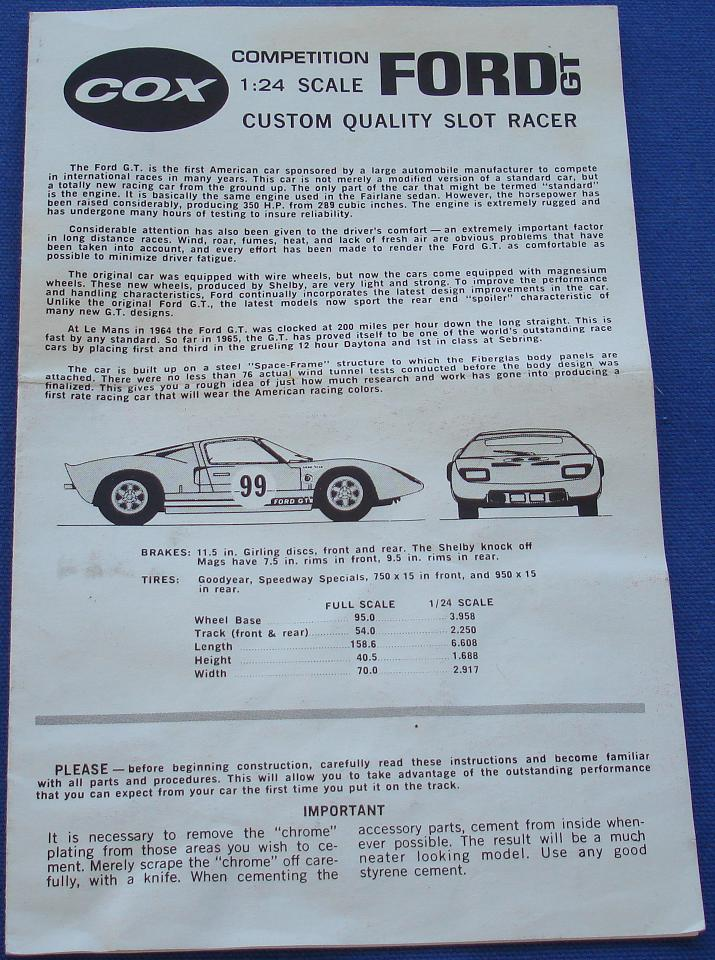 Cox 124 Scale Ford GT Slot Car Kit Instruction Sheet