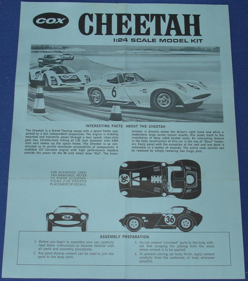 Cox 124 Scale Cheetah Slot Car Model Kit Instruction Sheet