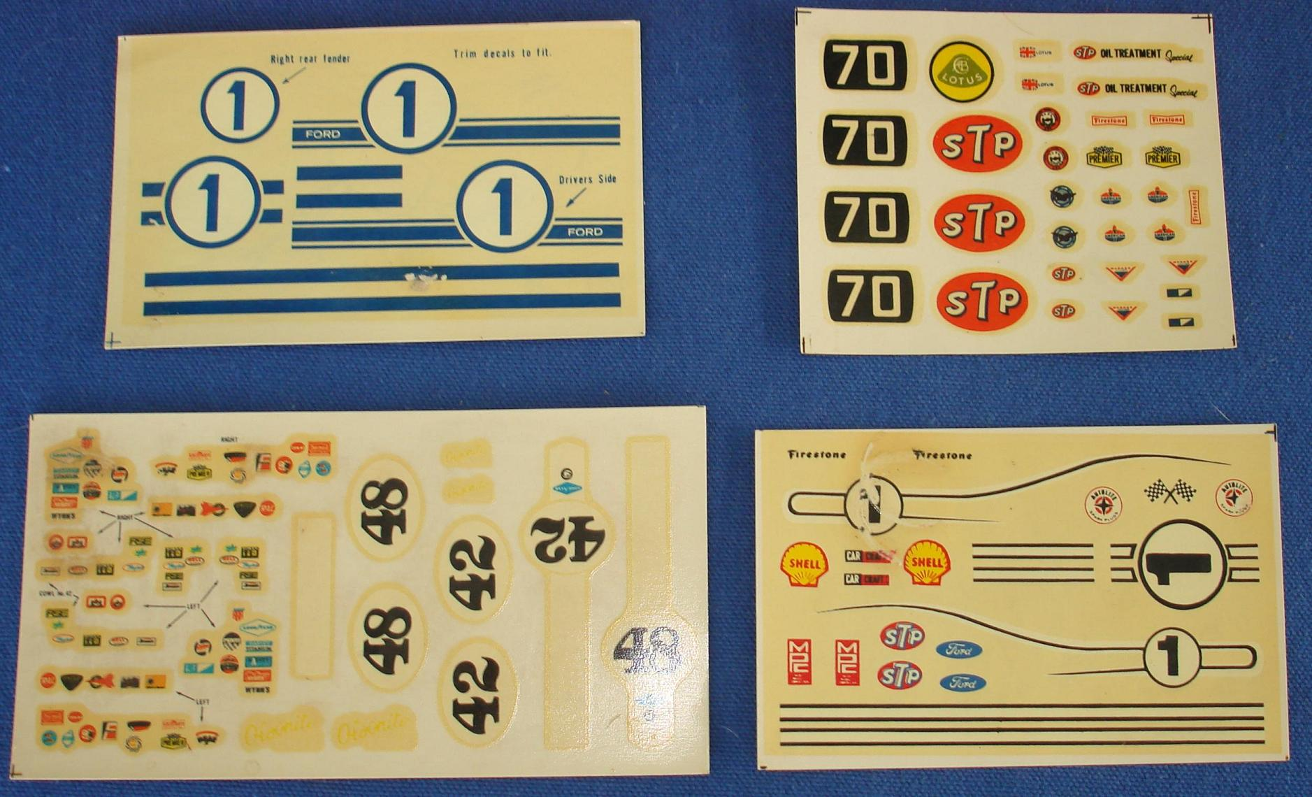MPC 1/24 Scale Slot Car Decal Sheets