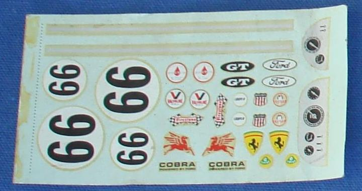 Pactra 1/24 Scale Ford Cobra Ferrari Slot Car Decal Sheet