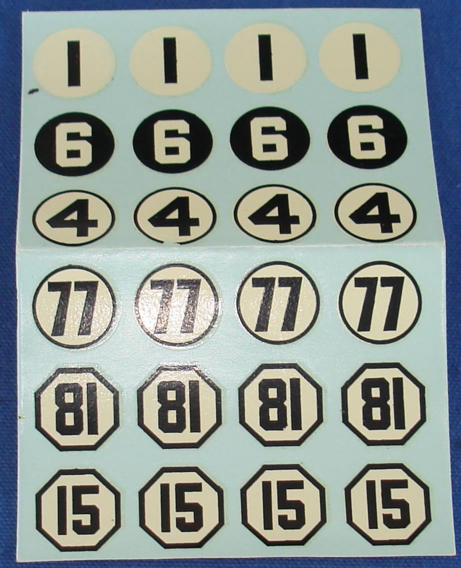 Strombecker 1/24 Scale Slot Car Numbers Decal Sheet