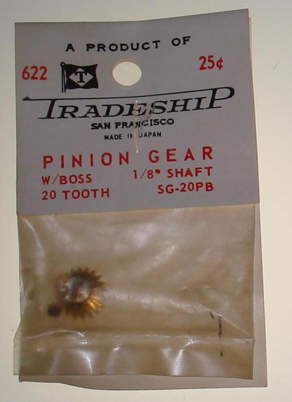 Vintage 1:24 Scale Slot Car Racing Chassis Motor Tradeship 20T Brass Pinion Gear