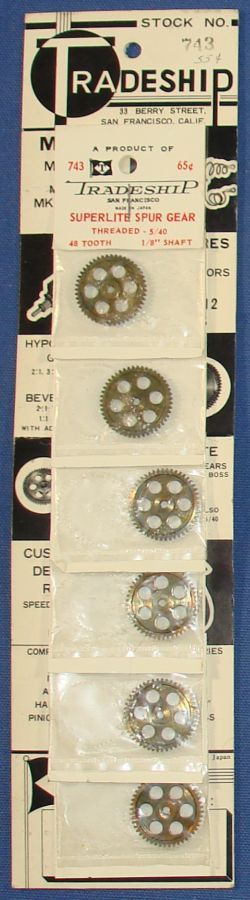 Tradeship San Francisco Made In West Germany Slot Car Racing Parts Spur Gears