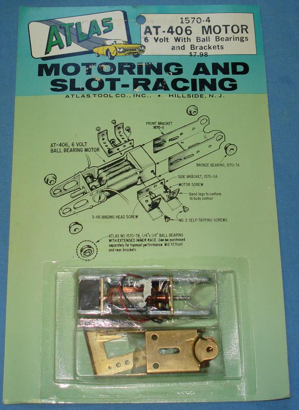 Atlas Slot Car Home Racing Parts #1570-4 AT-406 6V Ball Bearing Chassis Motor