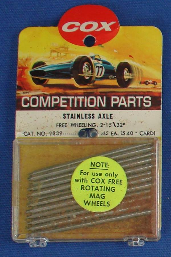 Cox 1:24 Electric Road Racing Slot Car Competition Free Wheeling Stainless Axles