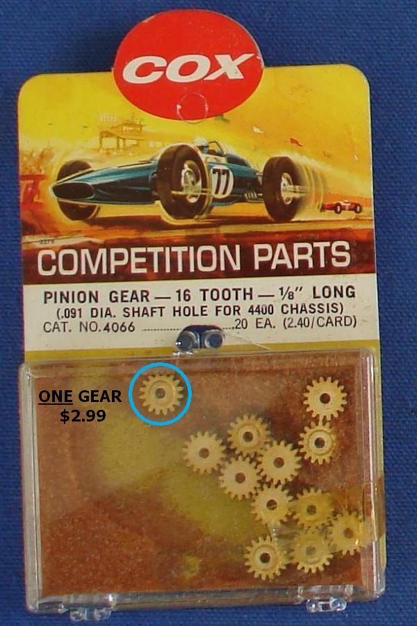 Cox 1:24 Electric Road Racing Slot Car Competition Chassis Pinion Gear 16T