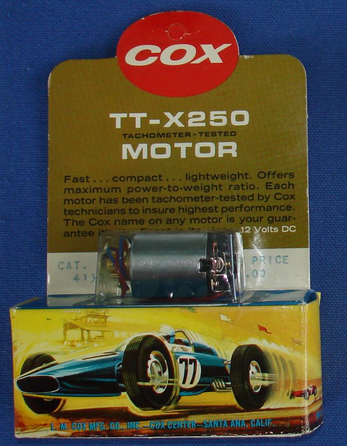 Cox 1:24 Electric Road Racing SlotCar Competition TT-X250 Chassis Motor 16T