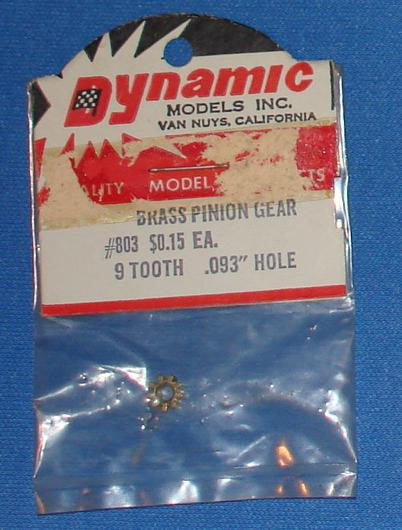 Dynamic Brass Pinion 9T Slot Car Gear