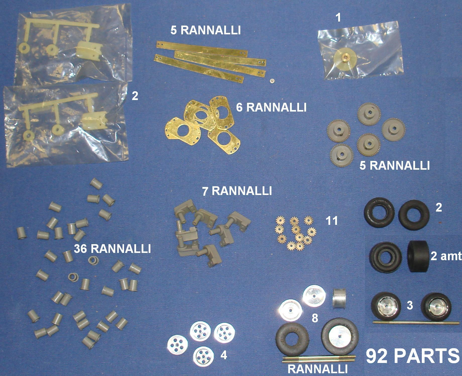 Rannalli Custom 1/24 Scale Slot Car Racing Parts Gears Axles Tires Chrome Wheels Guides