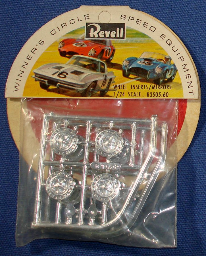 Revell 1:24 Scale Slot Car Racing Parts Chrome Wheel Inserts & Mirrors