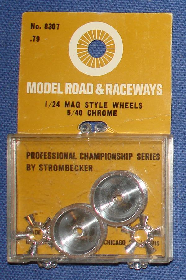 Strombecker 1/24 Electric Road Racing Slotcar Mag Style Chrome Wheels & Inserts