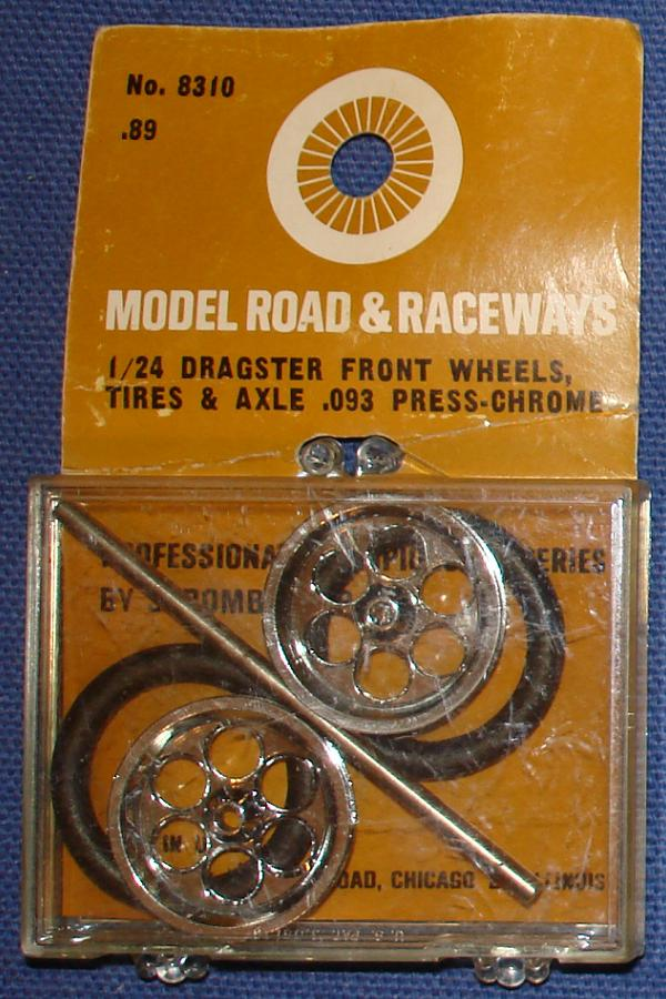 Strombecker 1/24 Electric Road Racing Slotcar Dragster Chrome Wheels Tires Axle Set