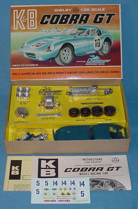 KB 1:25 Scale Ford Shelby Cobra GT Slot Car Racing Body Model Kit #1801 Box & Contents