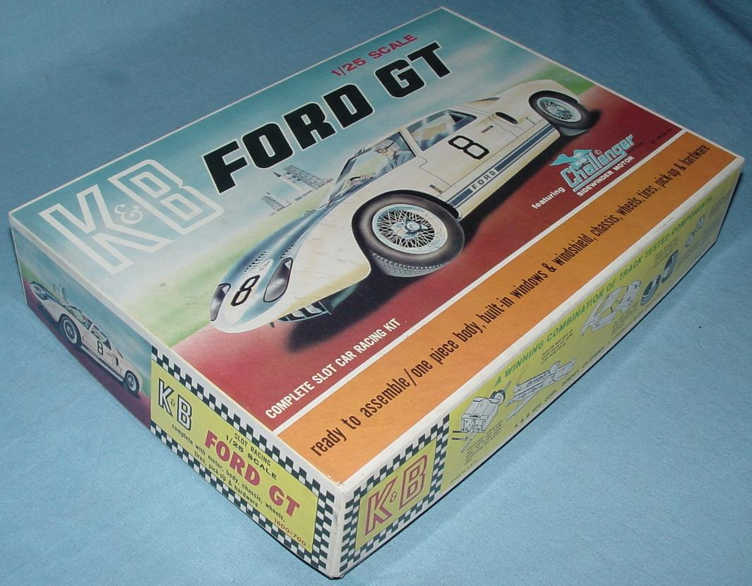 K&B 125 Scale Ford GT White Slot Car Racing Body Kit Box Lid