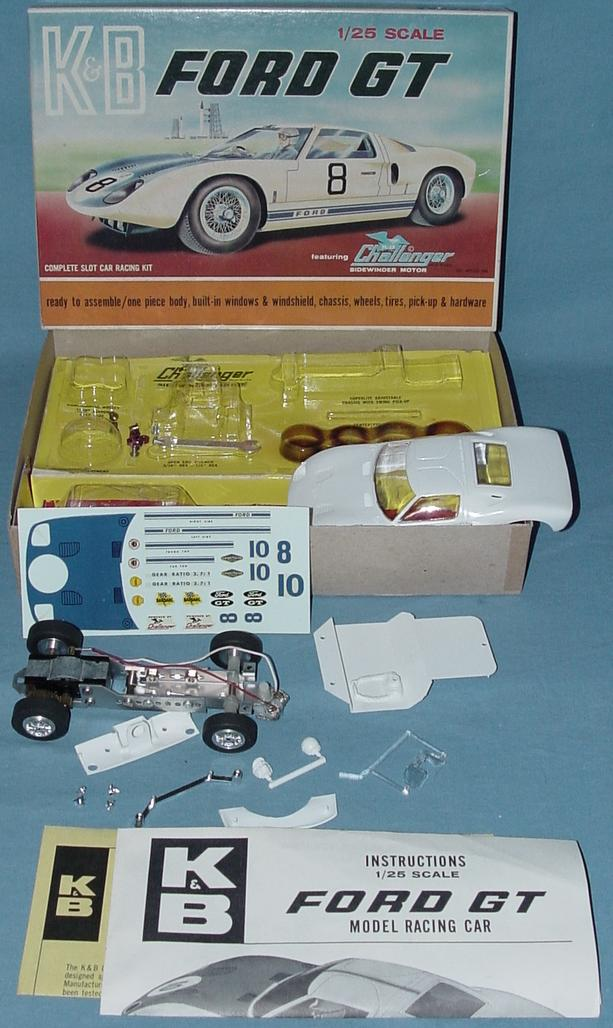 K&B 125 Scale Ford GT White Slot Car Racing Body Kit Contents Decals Instructions