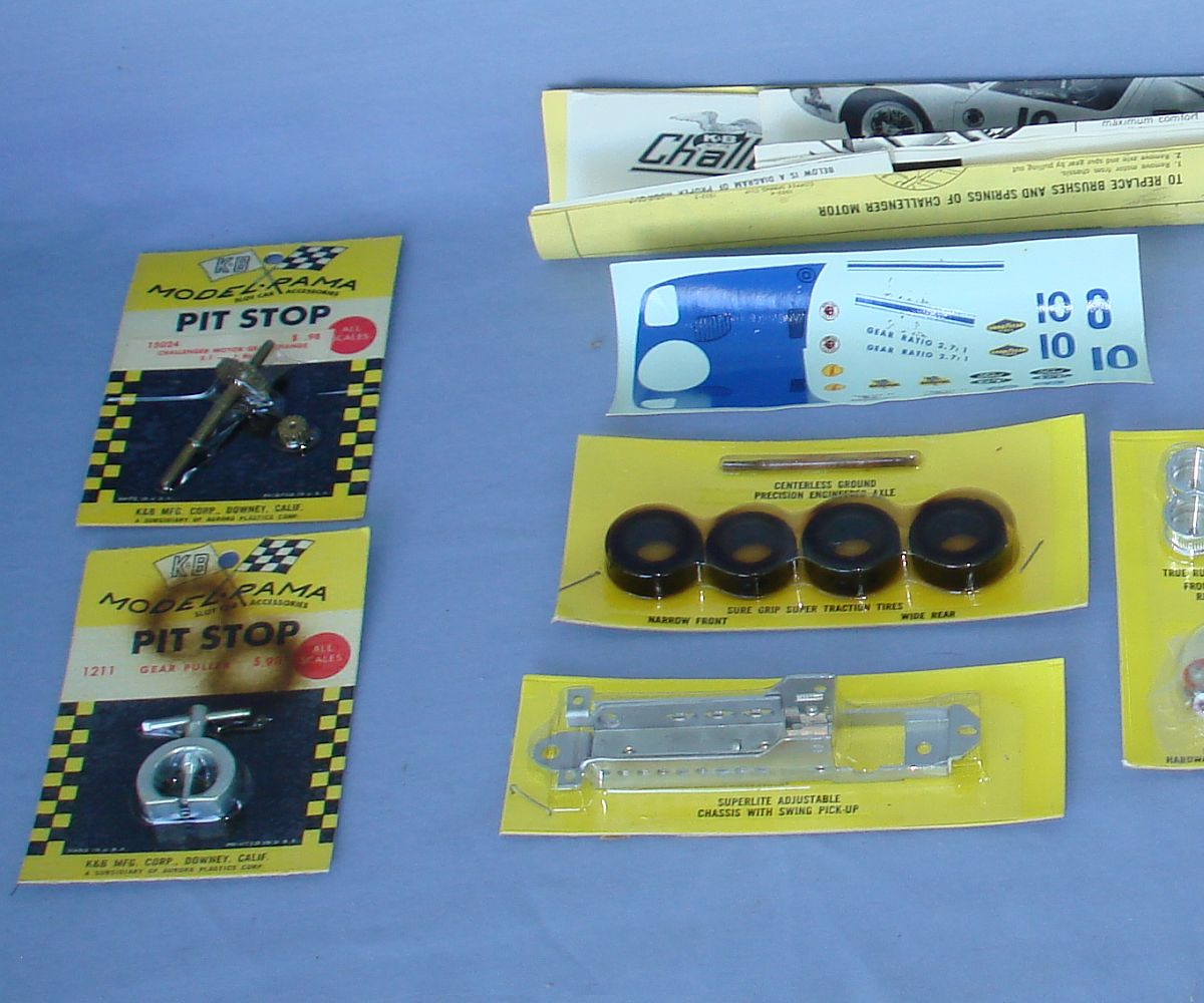 SEARS K&B 1:25 Scale Slot Car Racing Challenger Kit Tote Set Chassis Tires Motor Body Decals Left View