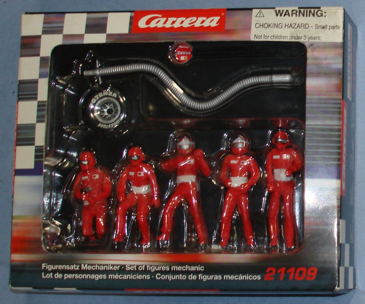 Carrera Ferrari Sponsored Slot Car Racing Track Layout Mechanic Figures