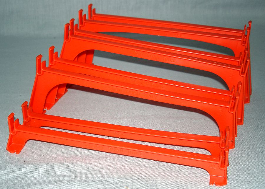 Eldon 1:32 Scale Electric Slot Car Racing Track Orange Bridge Supports Rail Sections 3869