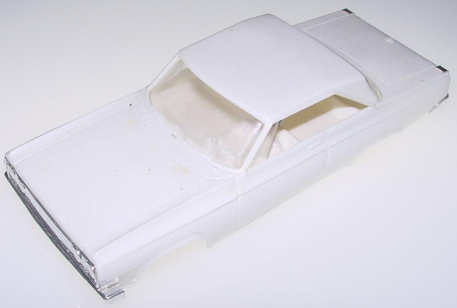 ELDON SLOT CAR WHITE BODY DODGE 440 CORONET NO CHASSIS CHROME BUMPERS