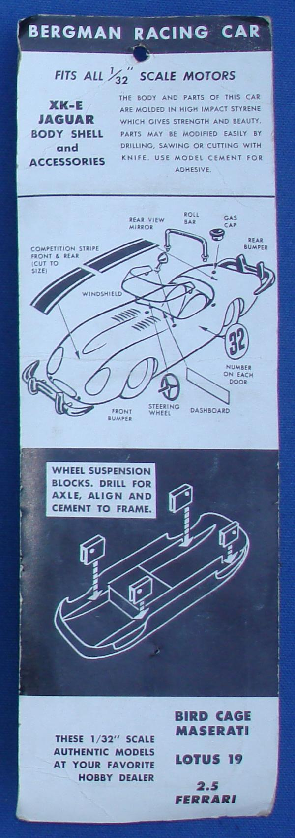 Bergman 132 Scale Jaguar XKE Slot Car Racing Body Kit Contents Decals Instructions