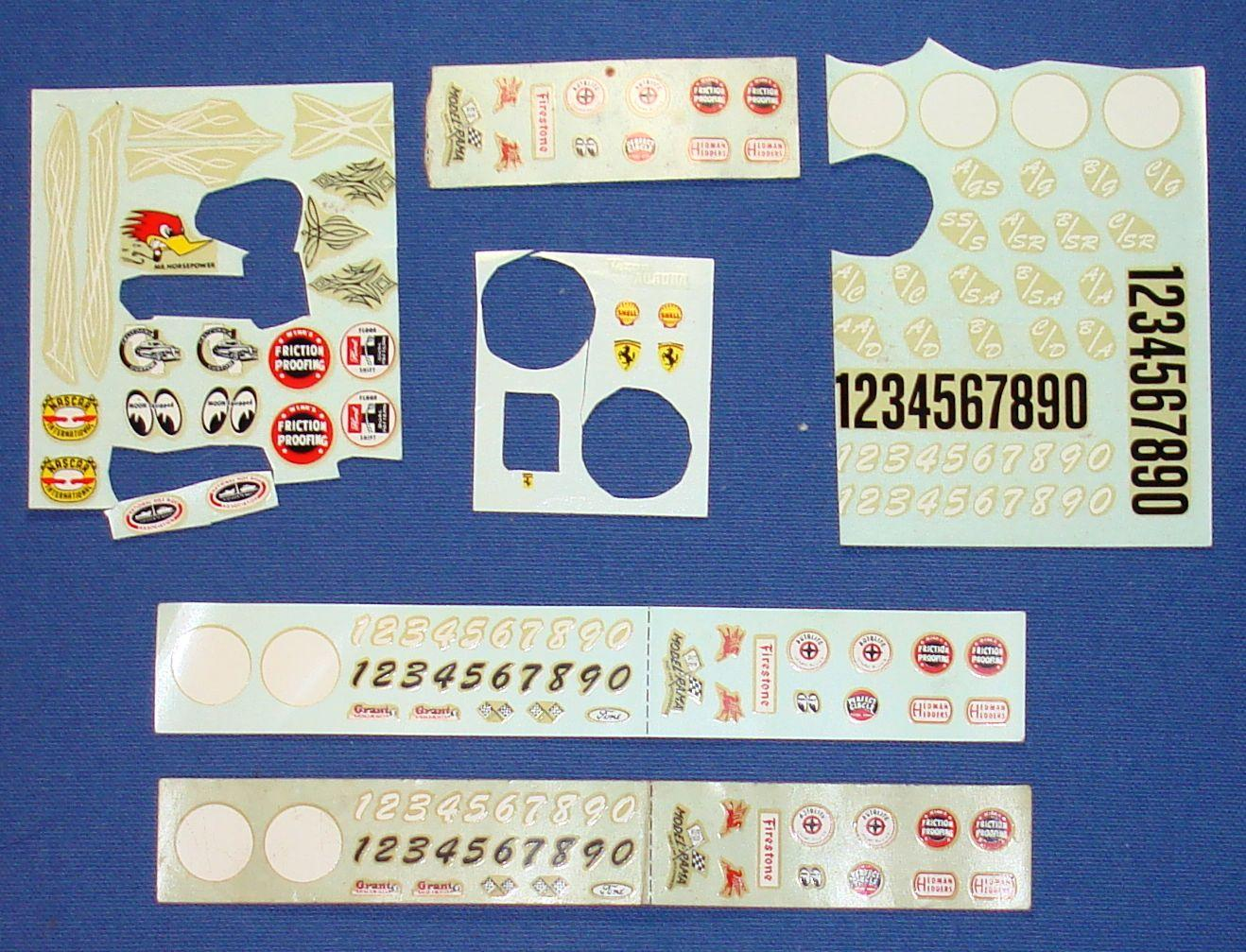 Aurora K&B 1/32 1/24 Scale Slot Car Decal Sheets