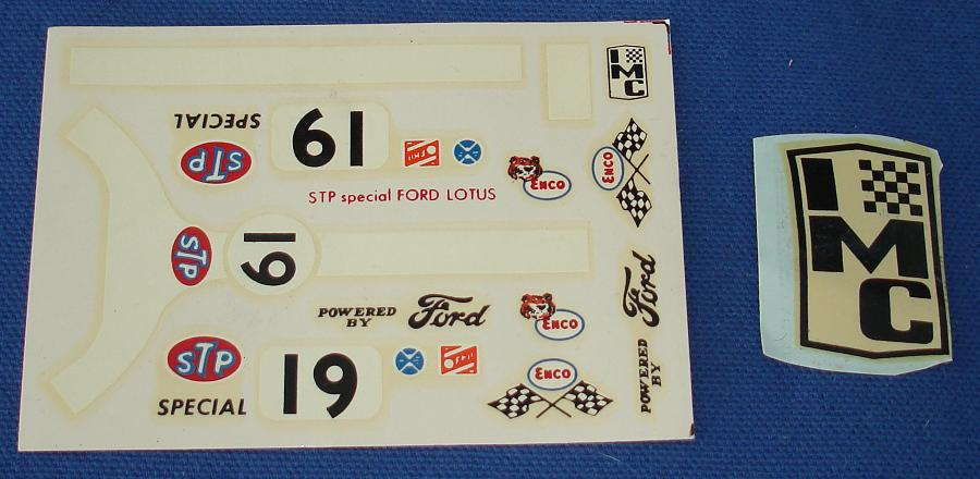 IMC STP ENCO Ford Lotus Slot Car Decal Sheet