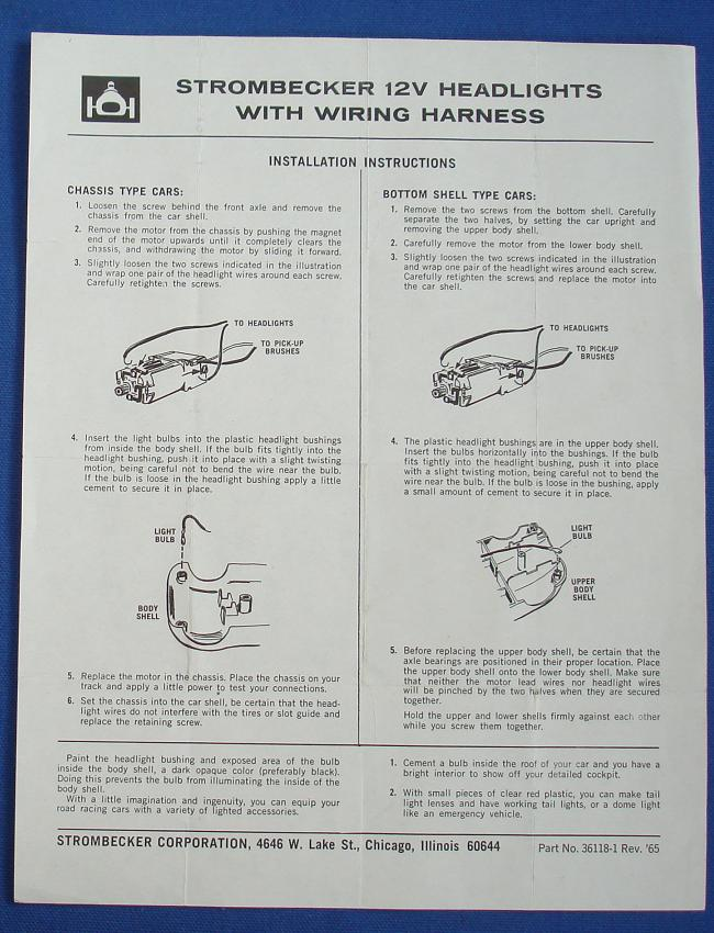 Strombecker 1/32 Electric Road Racing Slot Car 12V Headlights Wiring Harness Instructions