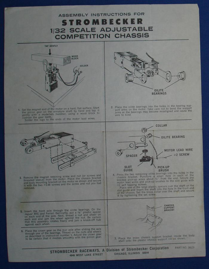Strombecker 1/32 Electric Road Racing Track Slot Car Adjustable Competition Chassis Instructions