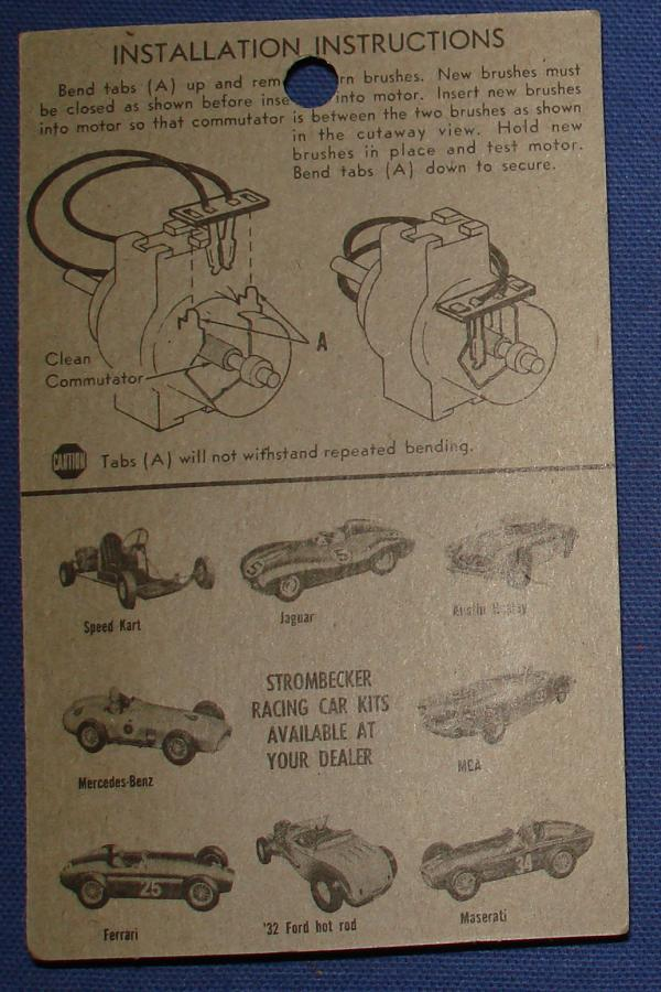 Strombecker 1/32 Electric Road Racing Slot Car Parts Lo Volt Motor Brushes Instructions