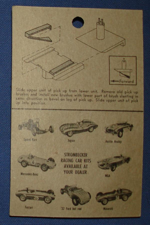 Strombecker 1/32 Electric Road Racing Slot Car Parts Pick Up Brushes Instructions