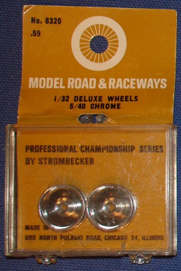 Strombecker 1/32 Electric Road Racing Slot Car Deluxe Chrome Wheels