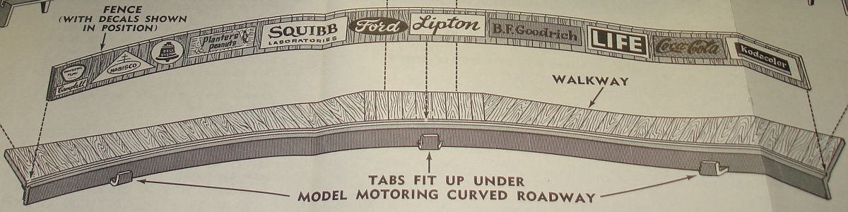 Aurora Model Motoring HO Scale Slot Car Racing Curved Bleachers 1456-149 Decals Instructions