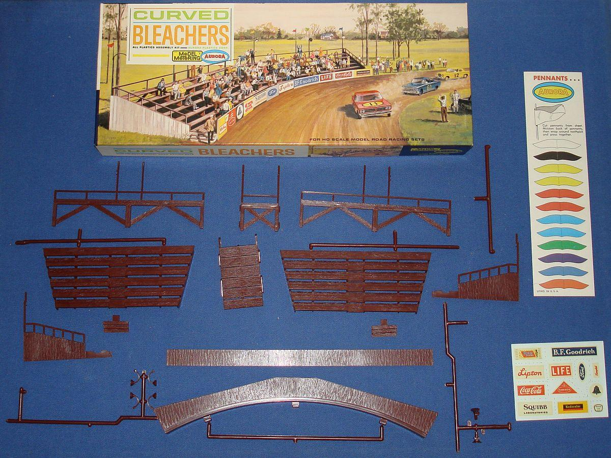 Aurora Model Motoring HO Scale Slot Car Racing Curved Bleachers 1456-149 Box Pennants Decals