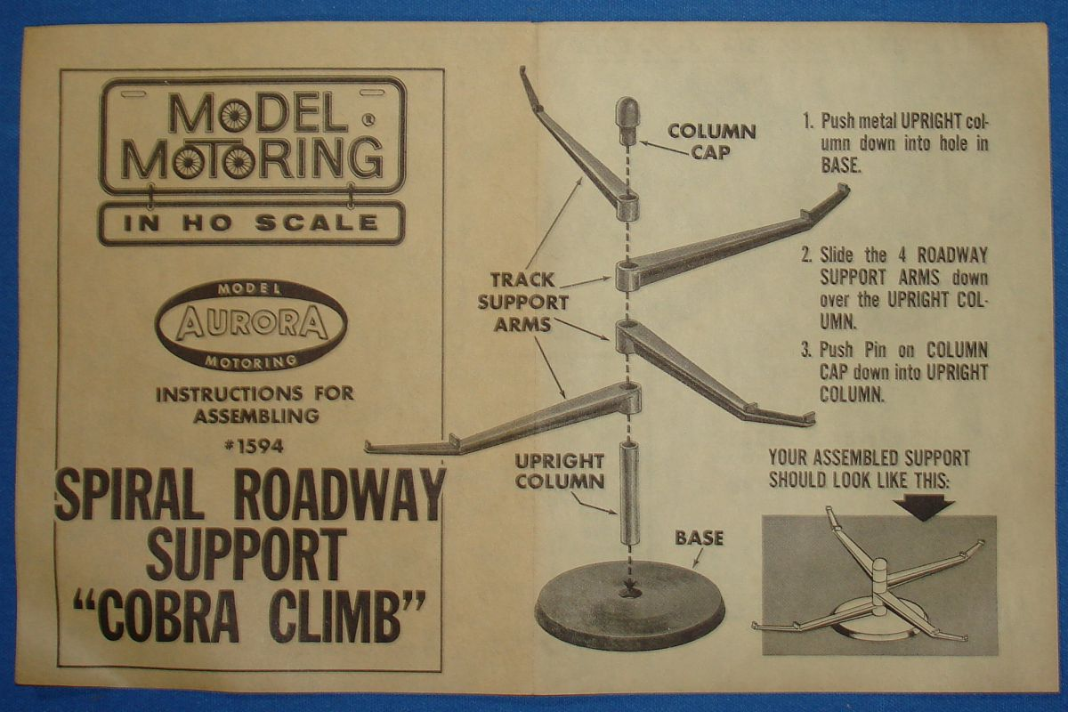 Aurora Model Motoring HO Scale Slot Car Racing Track Spiral Support Roadway Cobra Climb #1594 Instructions