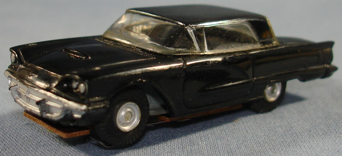 Vintage Aurora Model Motoring Vibrator Slot Car Black Ford Thunderbird Hood