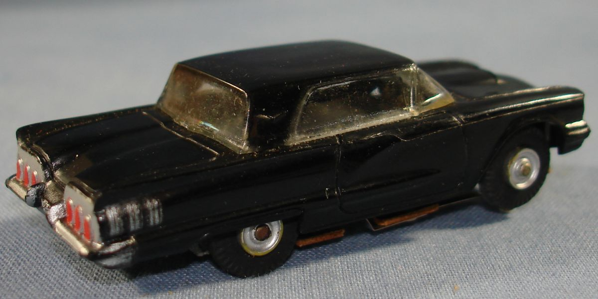 Vintage Aurora Model Motoring Vibrator Slot Car Black Ford Thunderbird Trunk