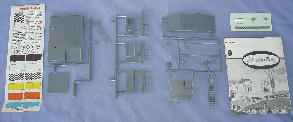 Aurora Model Motoring HO Scale Slot Car Racing Judges Stand Building Kit 1451 Box Contents Decals Instructions